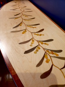 Golden wattle marquetry table Bungendore Wood Works