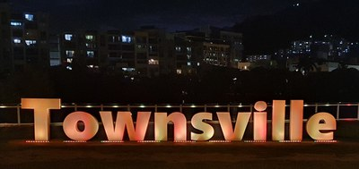 Townsville sign in yellow & green G Rebgetz