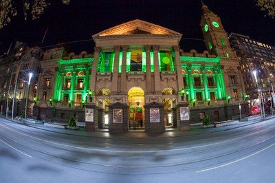 melbourne Town hall in yellow and green