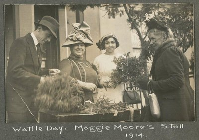 Maggie morre's Wattle Day stall Tasmania 1914