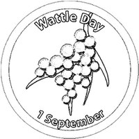 Wattle Day badge for colouring in Designed by Simon Yates